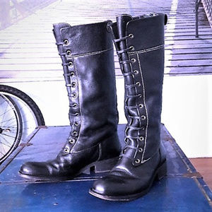 BCBG MAX AZRIA lace-up leather riding boots, sz 8